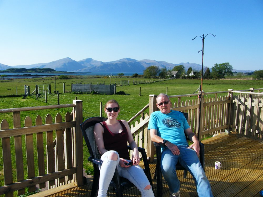 Chilling out admiring the Morvern Hills across Loch Linnhe